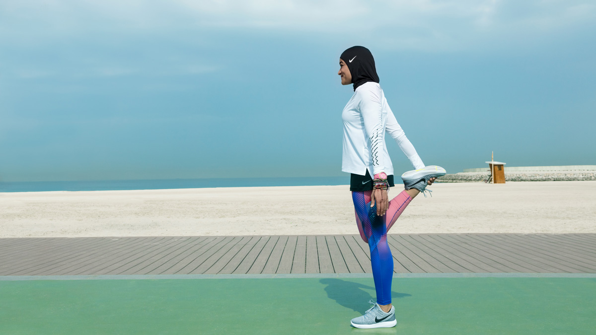 Manal Rostom, a Nike + Run Club coach, preps for a run while wearing the Nike Hijab Pro line which will be in the market in early 2018.