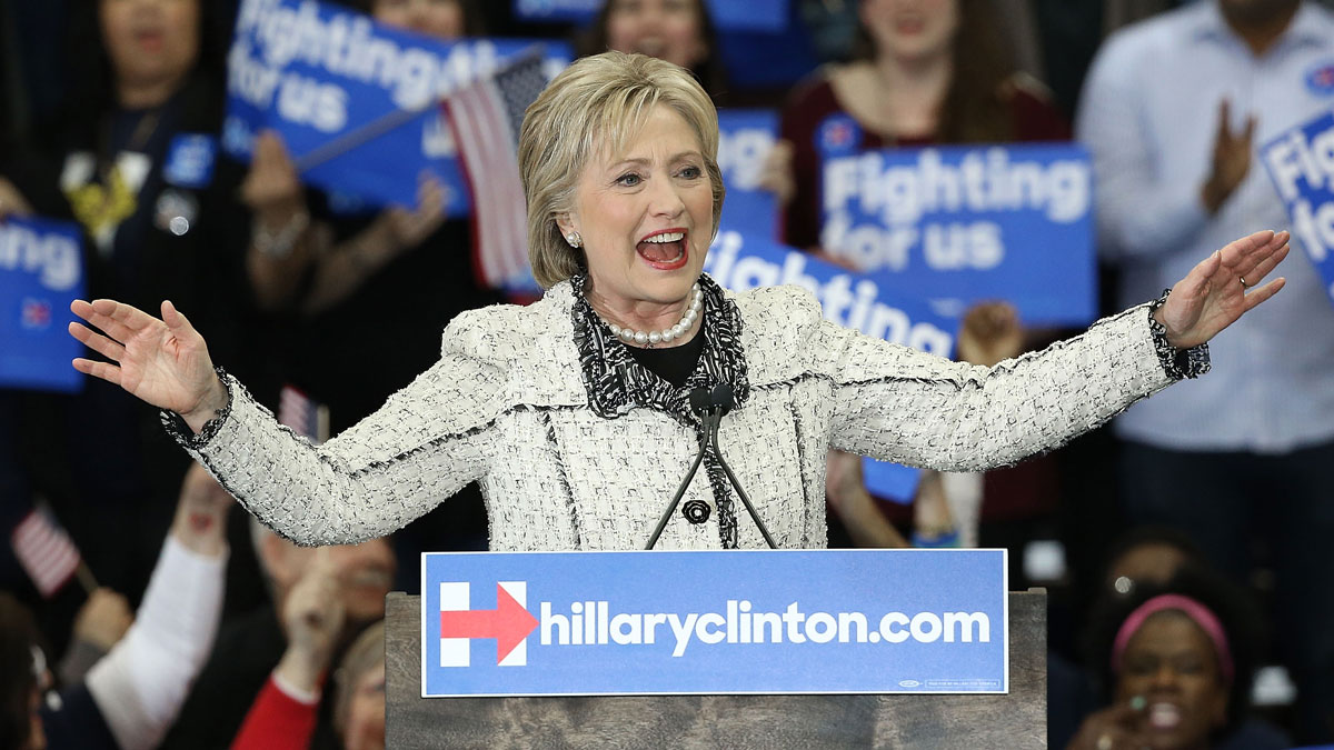 Democratic presidential candidate, former Secretary of State Hillary Clinton gives a victory speech to supporters at an event on February 27, 2016 in Columbia, South Carolina.