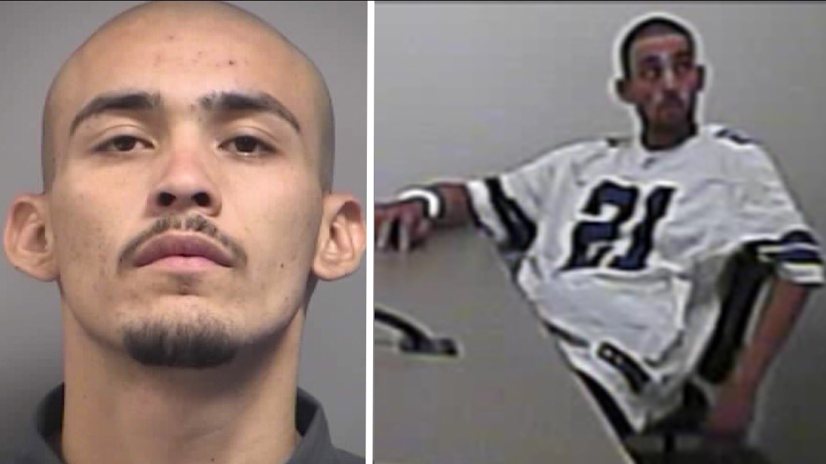 Alonso Perez, seen at left in a mug shot and at right on surveillance video, slipped out of his handcuffs and an interrogation room at the North Las Vegas Police Department on Friday, September 2, 2016, authorities said.
