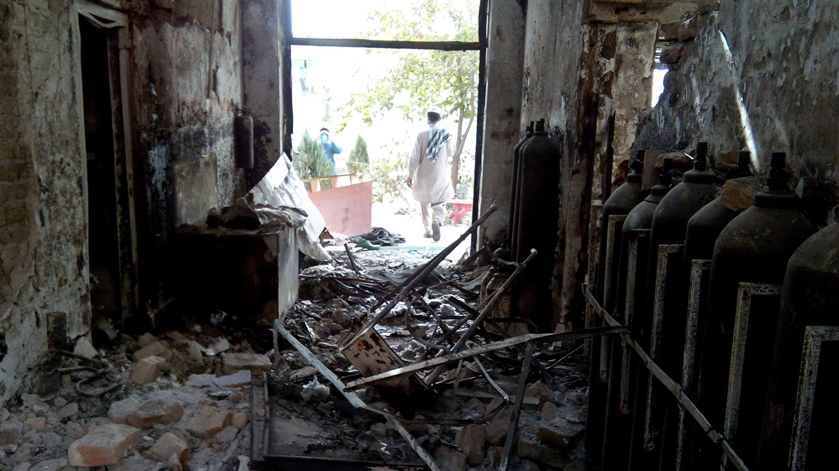 The damaged interior of the hospital in which the Medecins Sans Frontieres (MSF) medical charity operated is seen on October 13, 2015 following an air strike in the northern Afghan city of Kunduz.