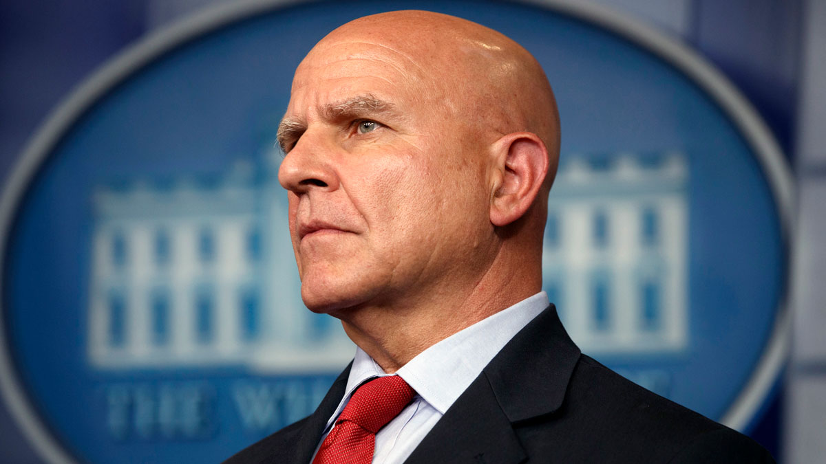 In this July 31, 2017, file photo, national security adviser H.R. McMaster listens during the daily press briefing at the White House in Washington. A long-simmering dispute between two top White House aides has boiled into a public battle over the direction President Donald Trump's foreign policy, as a cadre of conservatives groups are pushing for the ouster of McMaster.