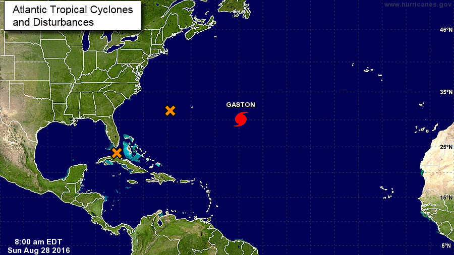 Hurricane Gaston is seen about 600 miles off the coast Florida and Georgia Sunday, August 28, 2016, along with two disturbances (orange Xs) in this NOAA illustration.