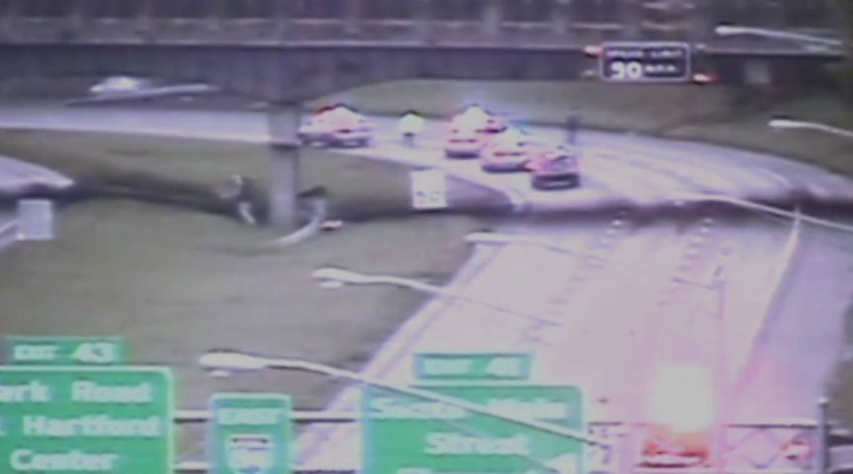 The scene of the accident on I84 in West Hartford at Exit 41.