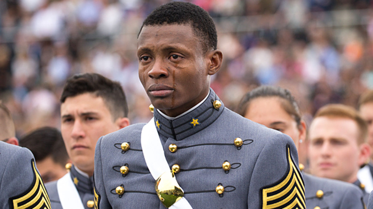 Cadet Alix Idrache sheds tears of joy during the commencement for the U.S. Military Academy's Class of 2016 at Michie Stadium in West Point, May 21. Nine hundred and fifty-three cadets graduated, which represented approximately 78 percent of the cadets who entered West Point in the summer of 2012.