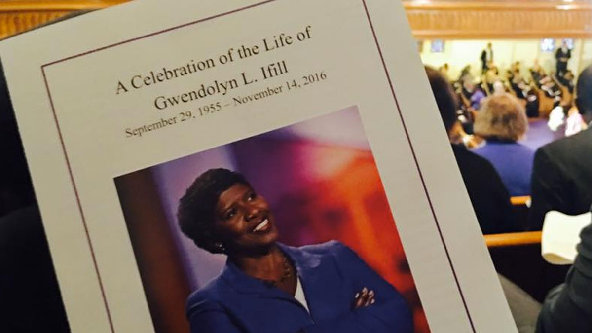 Services are held for journalist Gwen Ifill on Saturday, November 19 at the Metropolitan African Methodist Episcopal Chirch in Washington, D.C.
