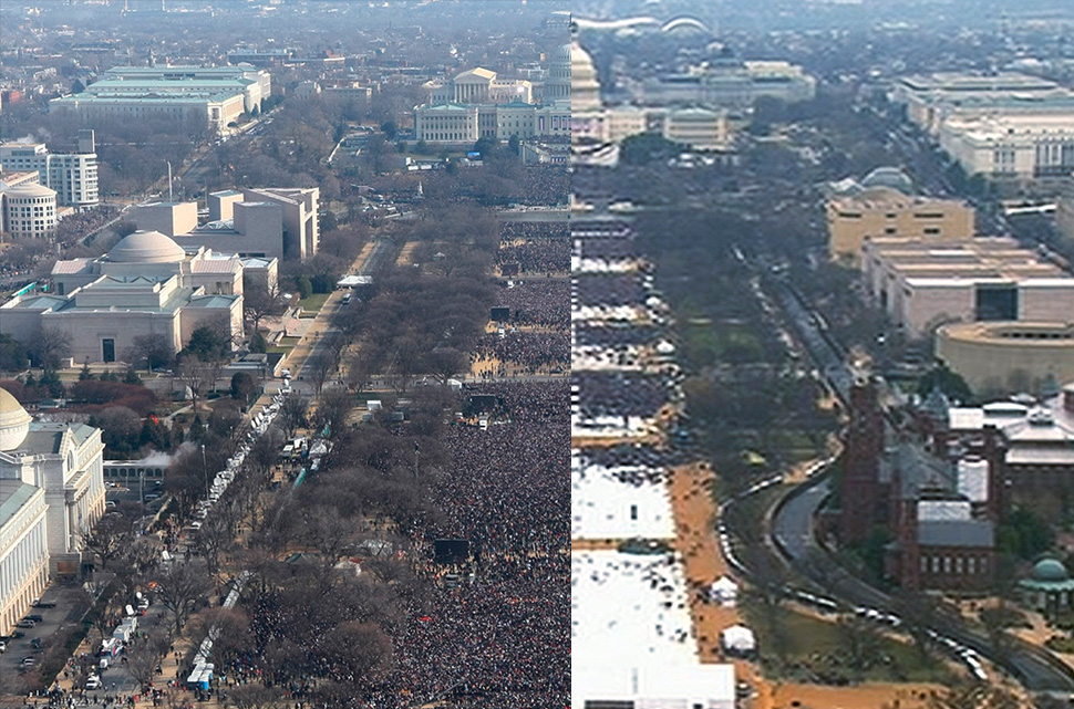 The National Mall as seen before the noon inaugurations of presidents Barack Obama in 2009 (left) and Donald Trump in 2017.