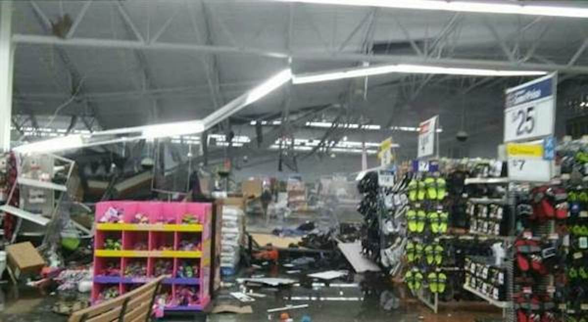 The scene inside a Wal-Mart in Troy, Ala., where a suspected tornado hit late Thursday.