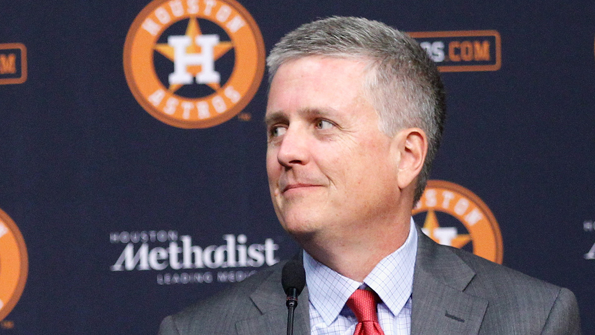 Astros and general manager Jeff Luhnow answers questions from the media at Minute Maid Park on June 12, 2015 in Houston, Texas.
