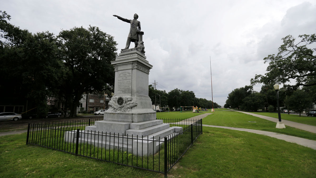 In this Sept. 2, 2015 photo, the monument of Jefferson Davis is seen on Jefferson Davis Parkway at Canal Street in New Orleans.