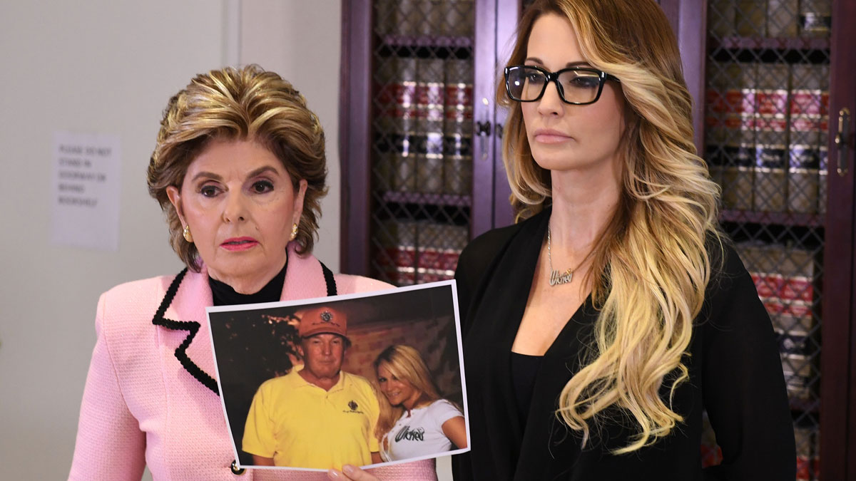 Jessica Drake (R), speaks beside attorney Gloria Allred (L) about allegations of sexual misconduct against Republican presidential hopeful Donald Trump during a press conference in Los Angeles, California on October 22, 2016.