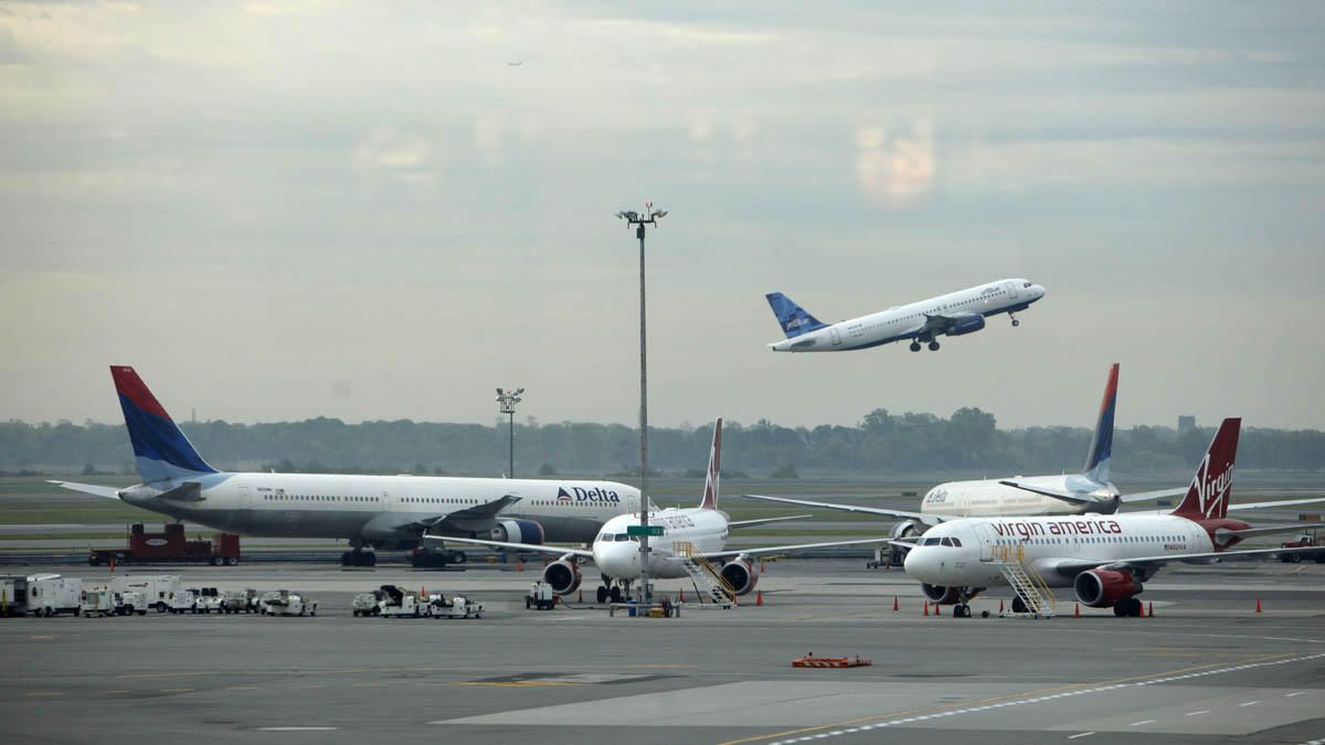 In this file photo, planes are seen at John F. Kennedy Airport in New York.