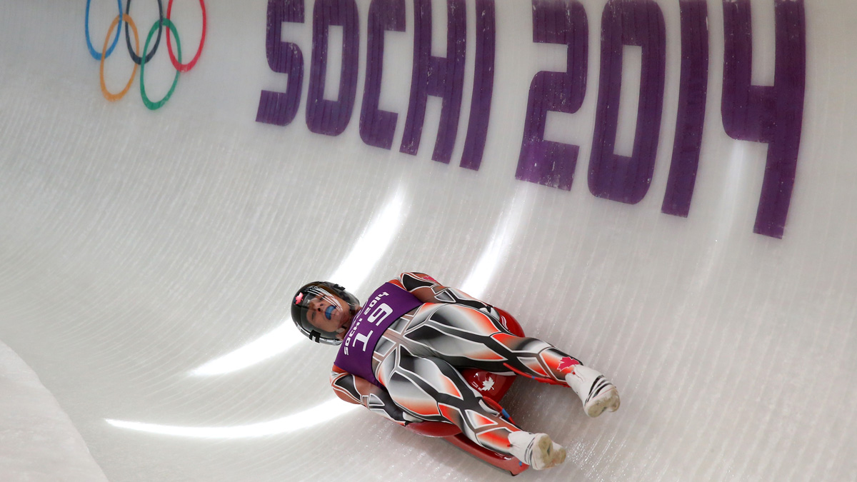 In this February 7, 2014 file photo, John Fennell of Canada in action during a Men's Singles Luge training session ahead of the Sochi 2014 Winter Olympics at the Sanki Sliding Center in Sochi, Russia.