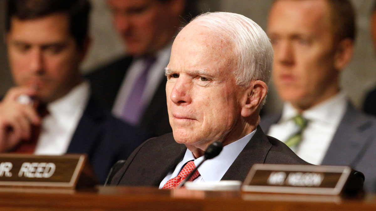 Senate Armed Services Committee Chairman Sen. John McCain, R-Ariz. listens on Capitol Hill in Washington, Tuesday, July 11, 2017, during the committee's confirmation hearing for Nay Secretary nominee Richard Spencer.