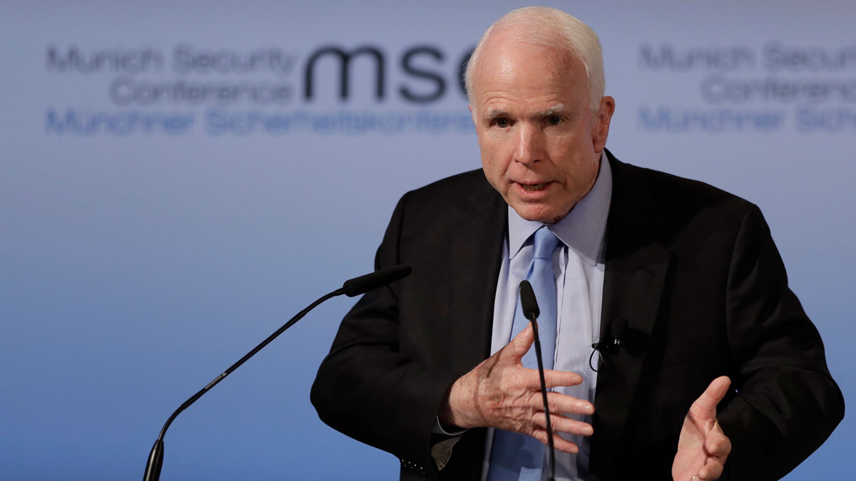 Senator John McCain, R-Ariz., speaks during the Munich Security Conference in Munich, southern Germany, Friday, Feb. 17, 2017.