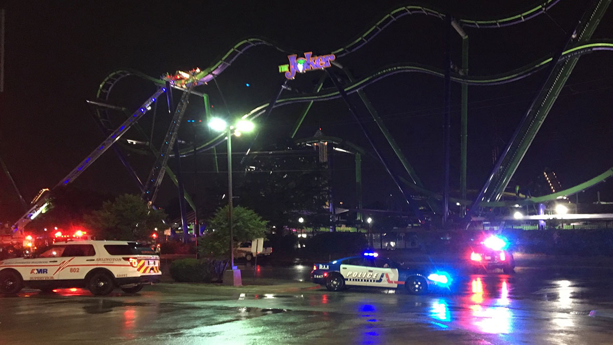 A rescue is underway early Saturday morning after a cart on the new Six Flags Over Texas roller coaster
