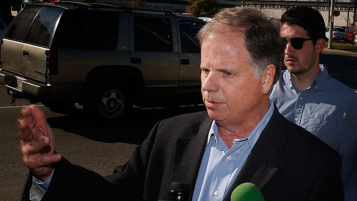 Alabama Democrat Senate candidate Doug Jones speaks to the media Tuesday, Nov. 14, 2017, in Birmingham, Ala.
