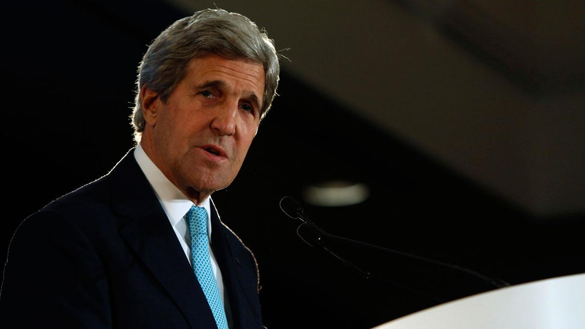Secretary of State John Kerry speaks about trade, Tuesday, April 12, 2016, during an event with the Pacific Council on International Policy in Los Angeles.