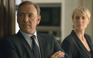This image released by Netflix shows Kevin Spacey as Francis Underwood, left, and Robin Wright as Clair Underwood in a scene from