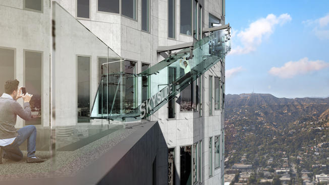 Set to open to the public on Saturday, the glass slide transports riders from the 70th to 69th floor of the U.S. Bank Tower.