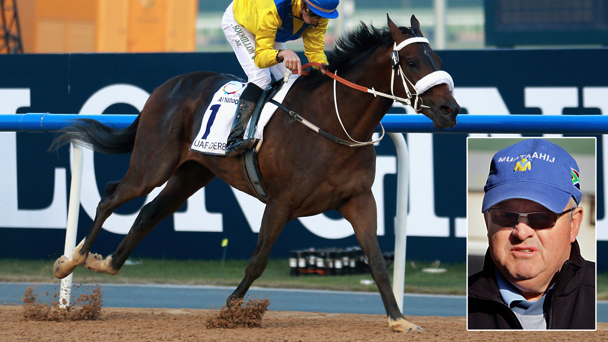 Mubtaahij, the racehorse trained by Michael de Kock (inset), will race in the Kentucky Derby this weekend. Above, Mubtaahij won the UAE Derby during the Dubai World Cup on March 28, 2015.