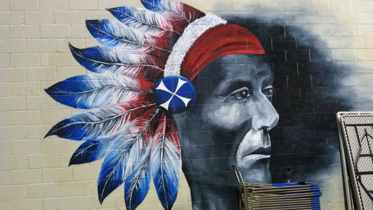 A mural at Neshaminy High School depicts the school mascot, the Redskin.