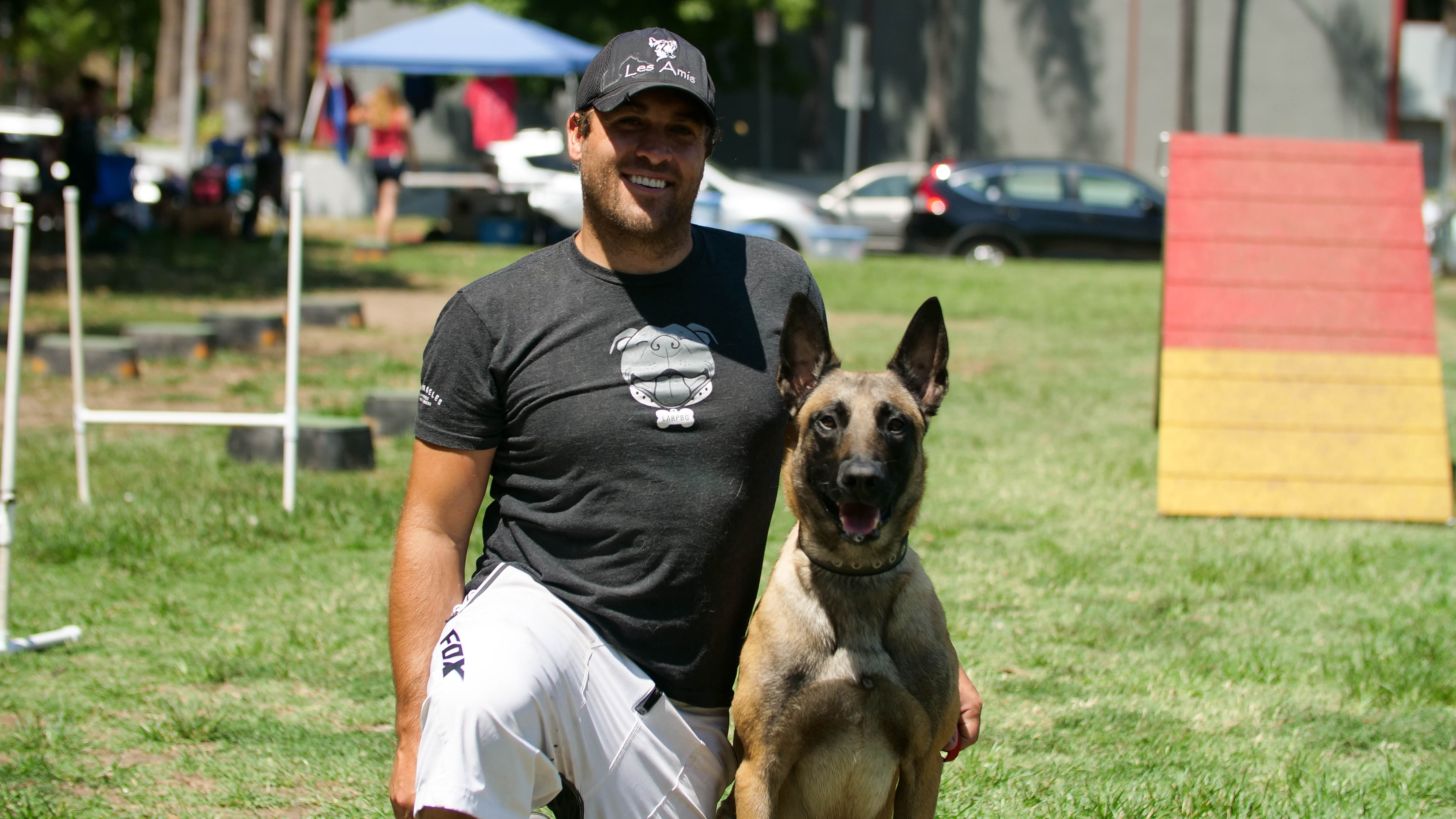 Los Angeles Responsible Pit Bulls founder Troy Smith with one of his dogs, Scar.