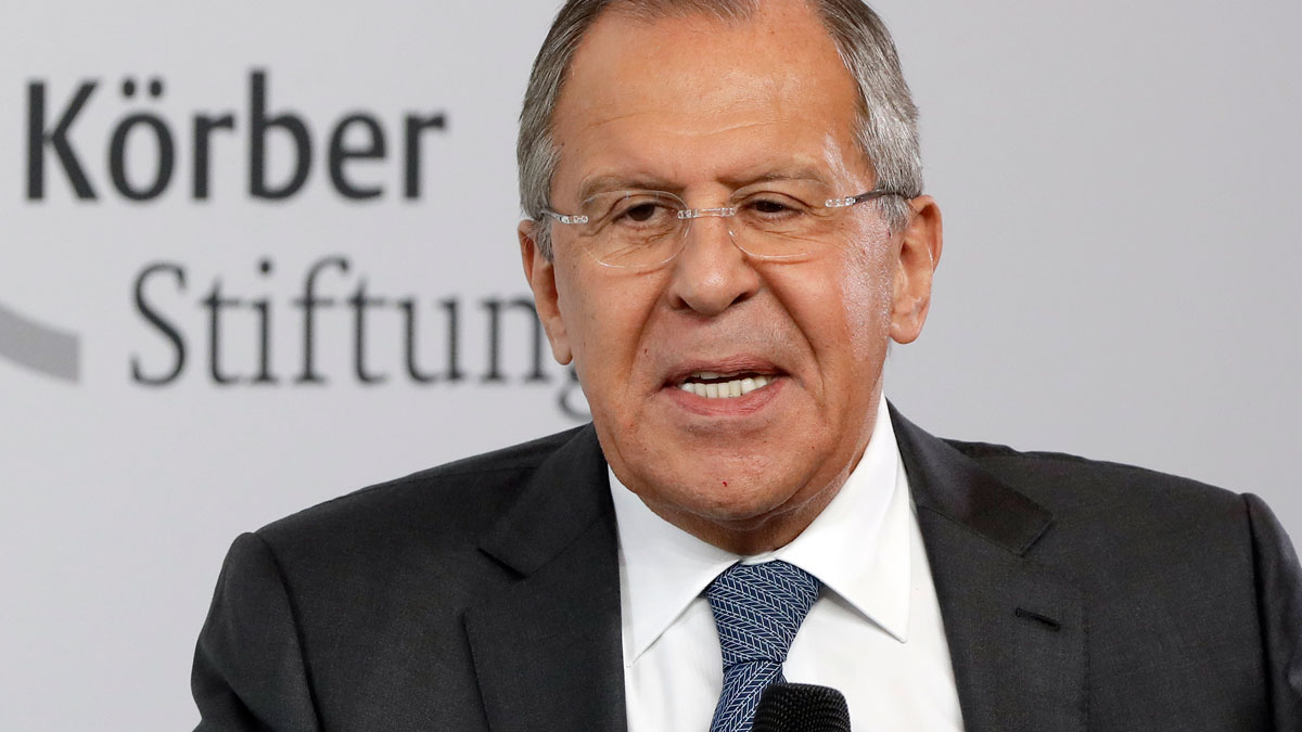Russian Foreign Minister Sergey Lavrov speaks during an event of the Koerber Foundation in Berlin, Germany, Thursday, July 13, 2017. The Koerber Foundation brings together people from different political, social and cultural backgrounds.