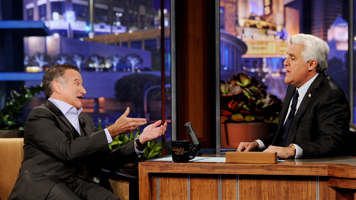 Robin Williams appears on the Tonight Show With Jay Leno at NBC Studios on November 16, 2011 in Burbank, California.