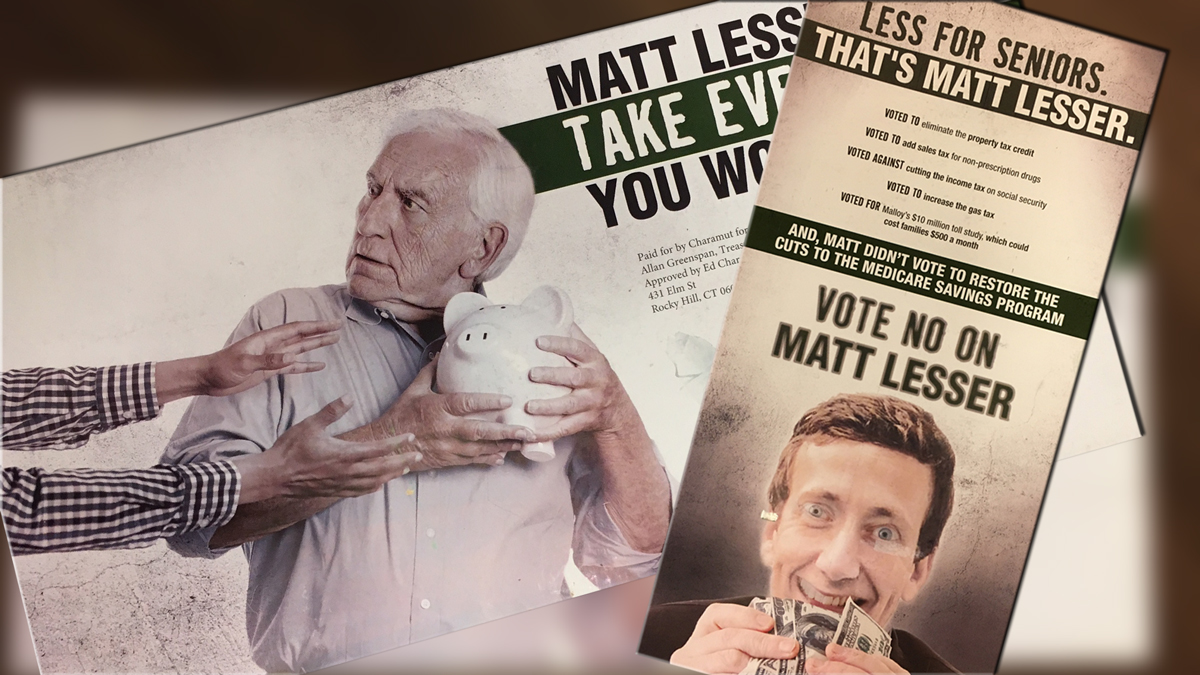 "This controversial mailer shows an apparently edited image of Matt Lesser, the Democrat running for State Senate 9th District, clutching $100 bills and a written message that ""Matt Lesser Will Take Everything You Worked For."" Some say the mailer targeting the Jewish candidate is anti-Semitic."