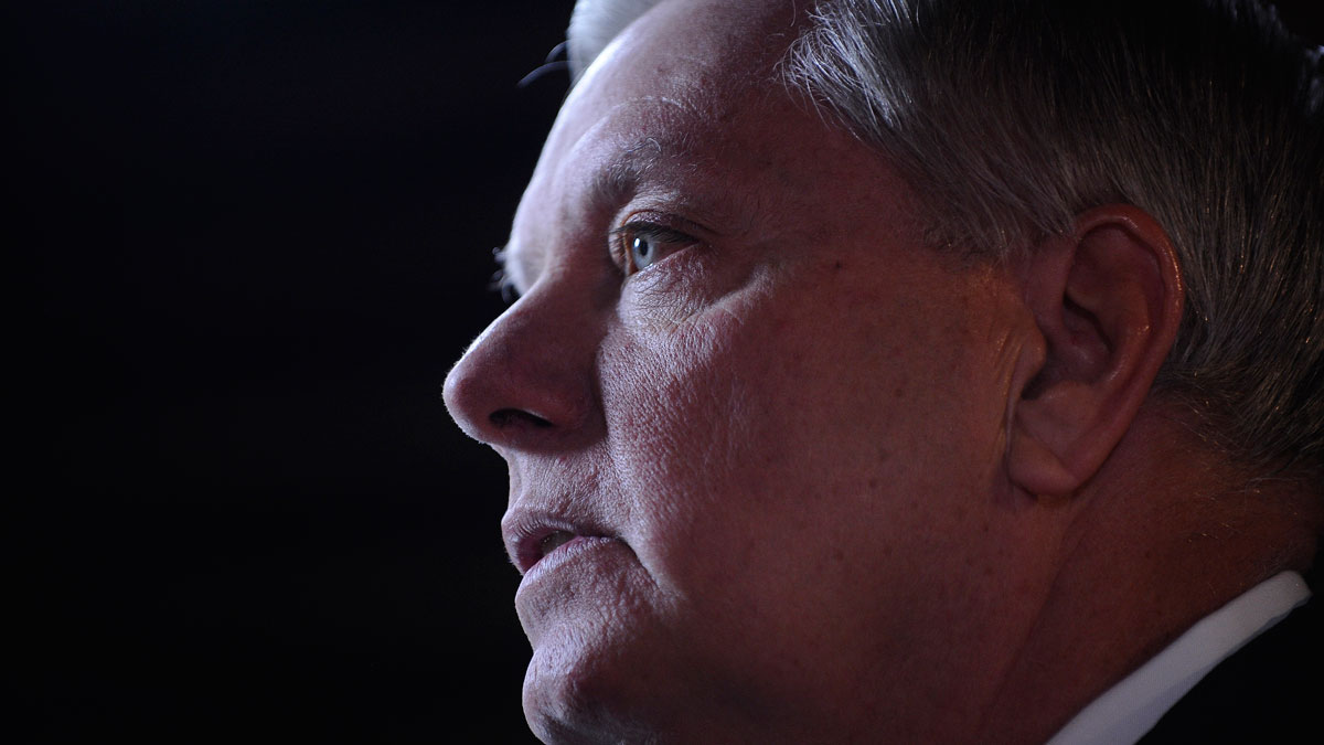 FILE - U.S. Sen Lindsey Graham, R-S.C., speaks to the media before the CBS News Republican presidential debate at the Peace Center, Feb. 13, 2016, in Greenville, S.C.