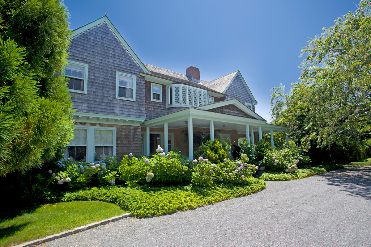The exterior of the Grey Gardens home in East Hampton, New York.