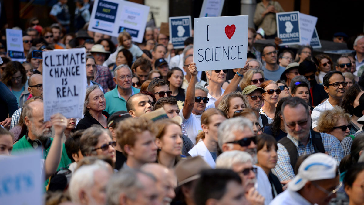 Supporters of science and research gather for the March for Science protest in Sydney on April 22, 2017.