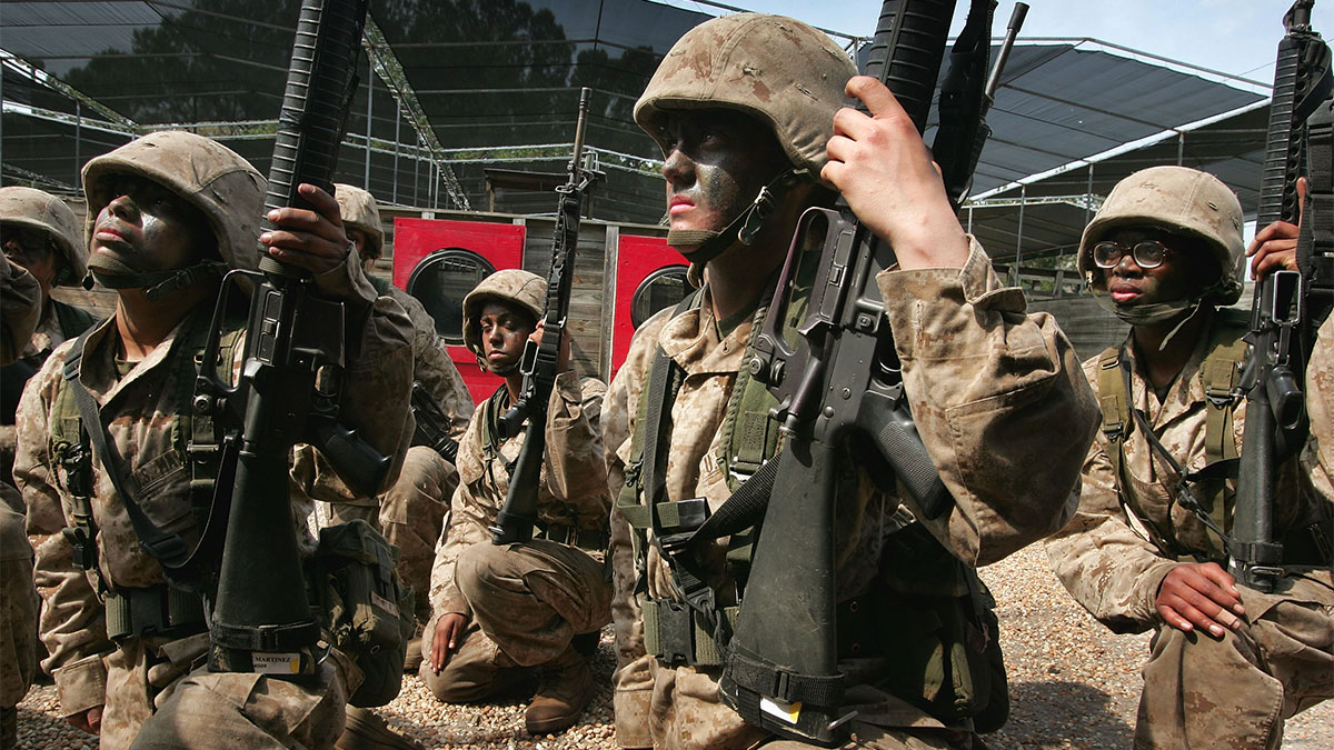Female United States Marine Corps recruits receive instructions for a training exercise during boot camp March 8, 2007 at Parris Island, South Carolina.