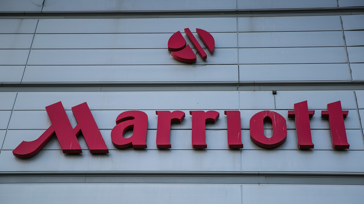 The entrance to Marriott's Hotel at London Heathrow International Airport on Bath Road is viewed on September 12, 2016, in London, England.