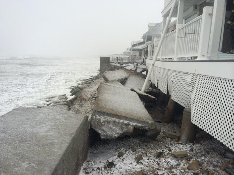 A portion of the seawall in Marshfield, Massachusetts, has collapsed due to the storm.