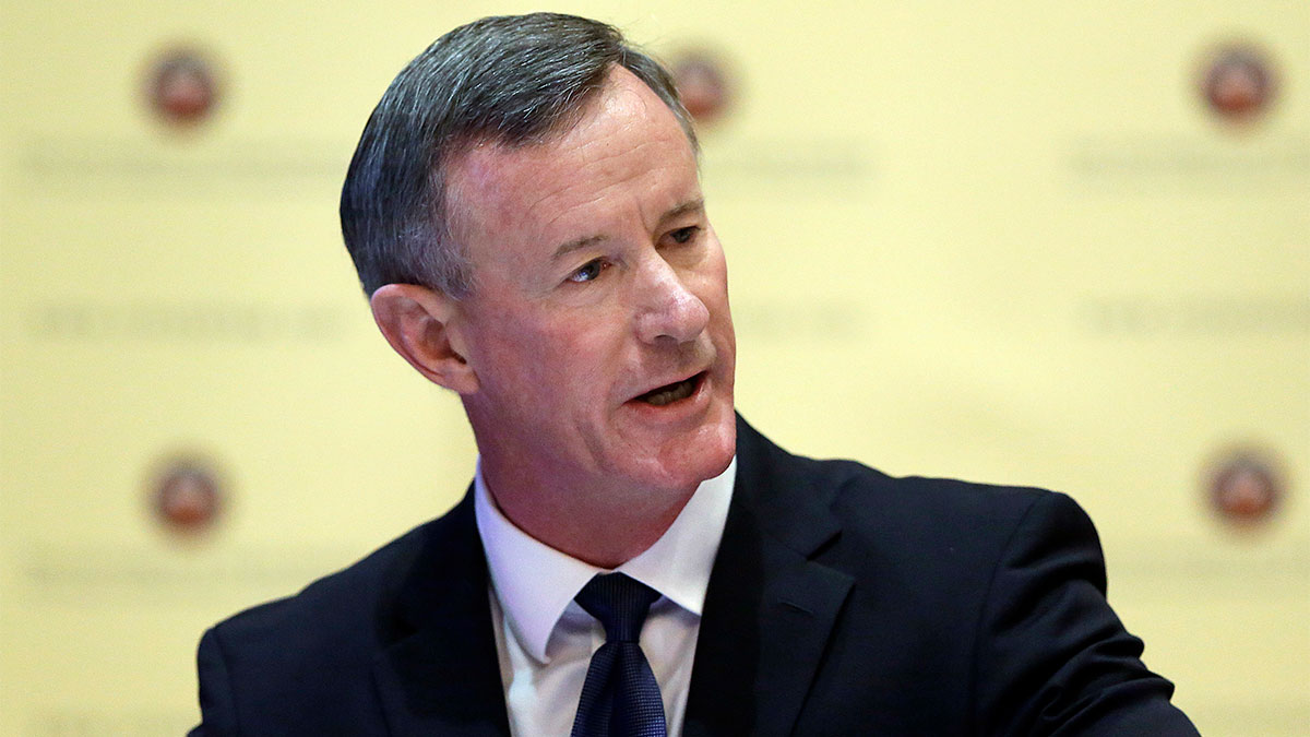 FILE - In this Aug. 21, 2014, file photo, U.S. Navy Adm. William McRaven addresses the Texas Board of Regents in Austin, Texas.