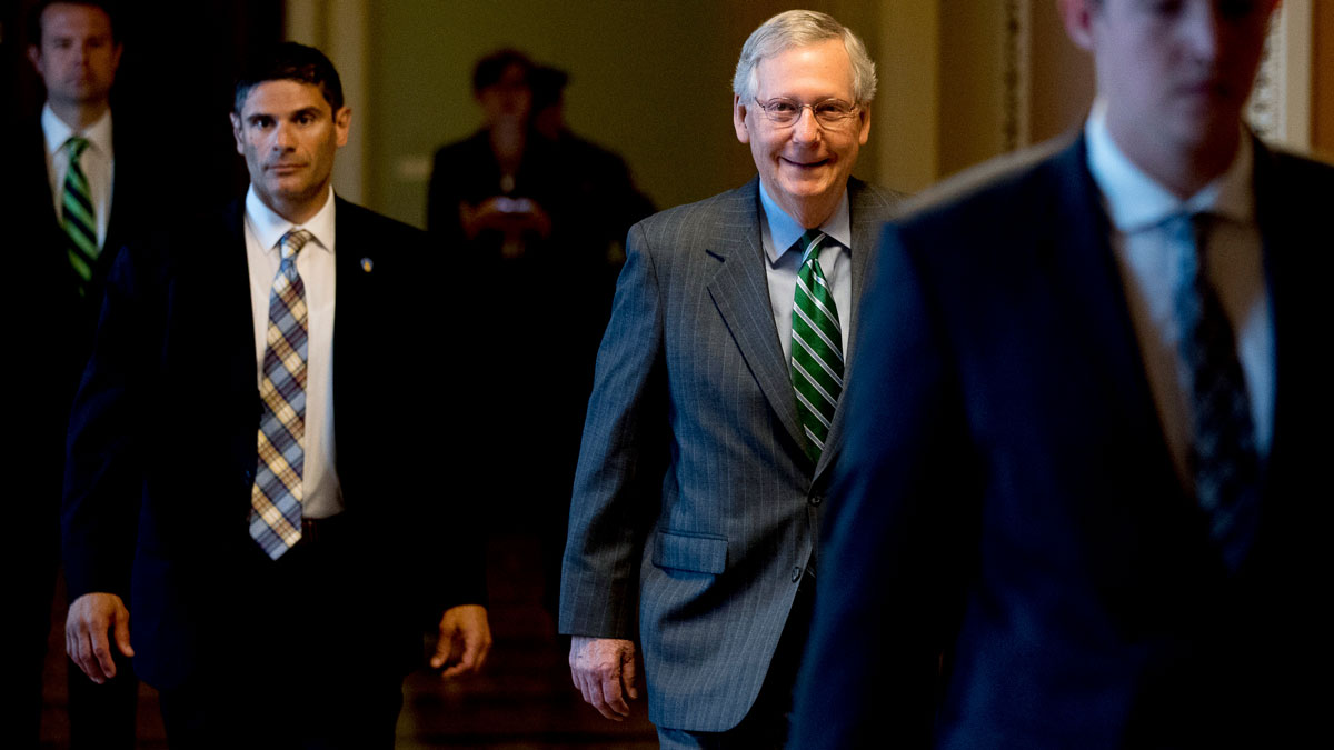 Senate Majority Leader Mitch McConnell of Kentucky arrives on Capitol Hill in Washington, Thursday, June 22, 2017.