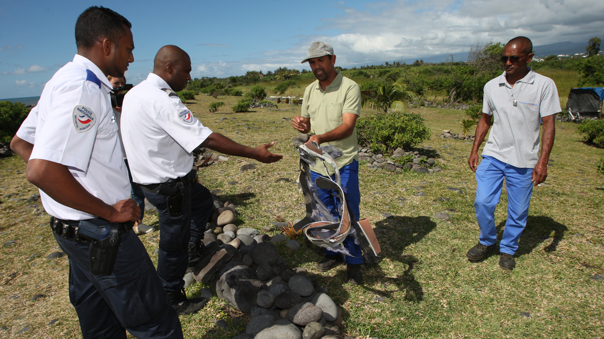 Remnants of a suitcase found on Reunion Island in the Indian Ocean on Thursday, July 30, 2015 near where a fragment of an aircraft was located a day earlier.