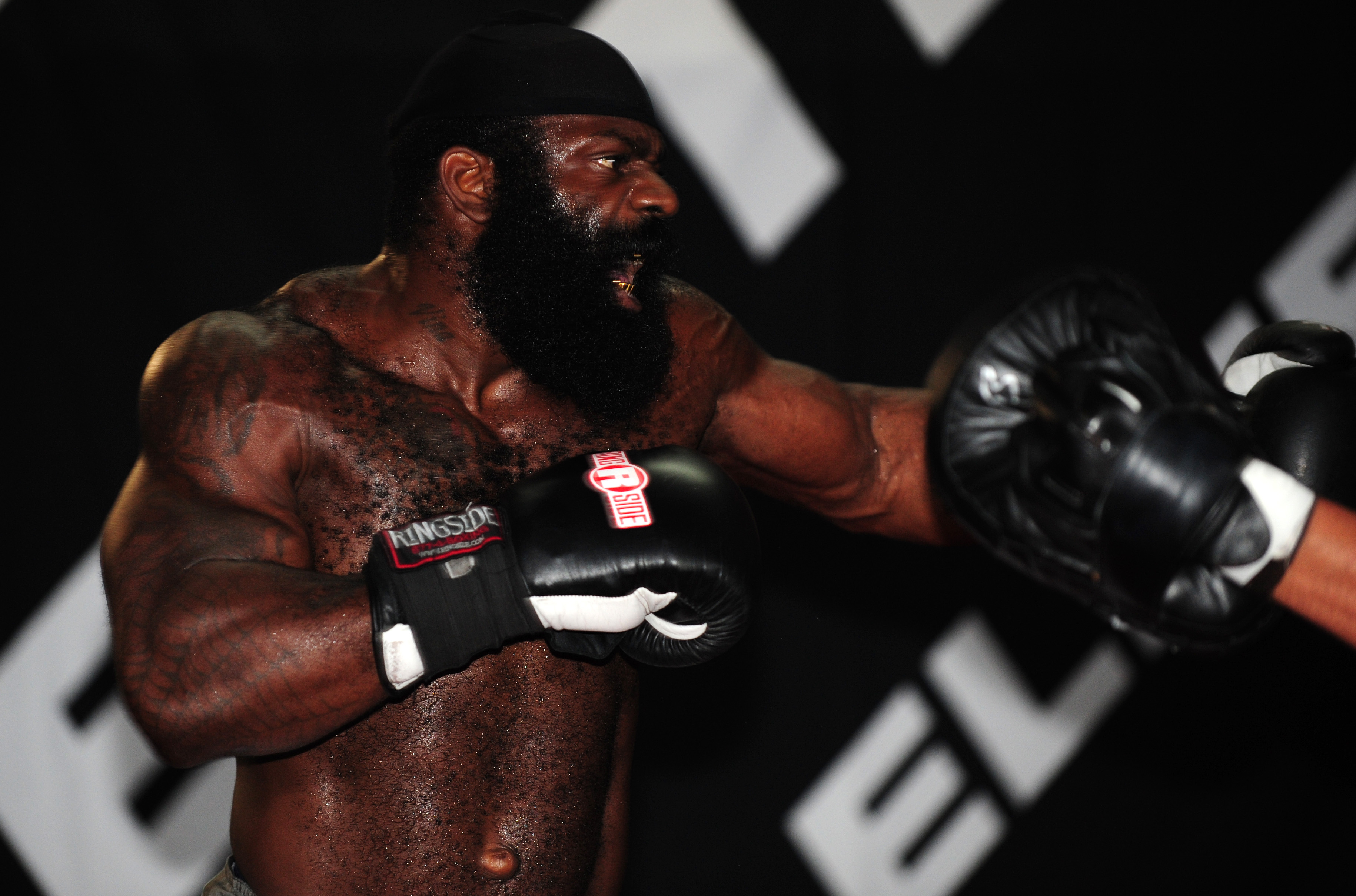 FILE - MMA Heavyweight Sensation Kimbo Slice is seen during the Workout/Media Day with Kimbo Slice and Gina Carano at the Legends Mixed Martial Arts Training Center on Sept. 17, 2008 in Los Angeles, California.