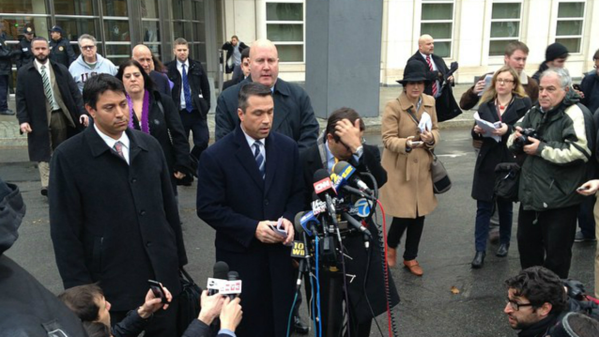 Rep. Michael Grimm speaks outside court.
