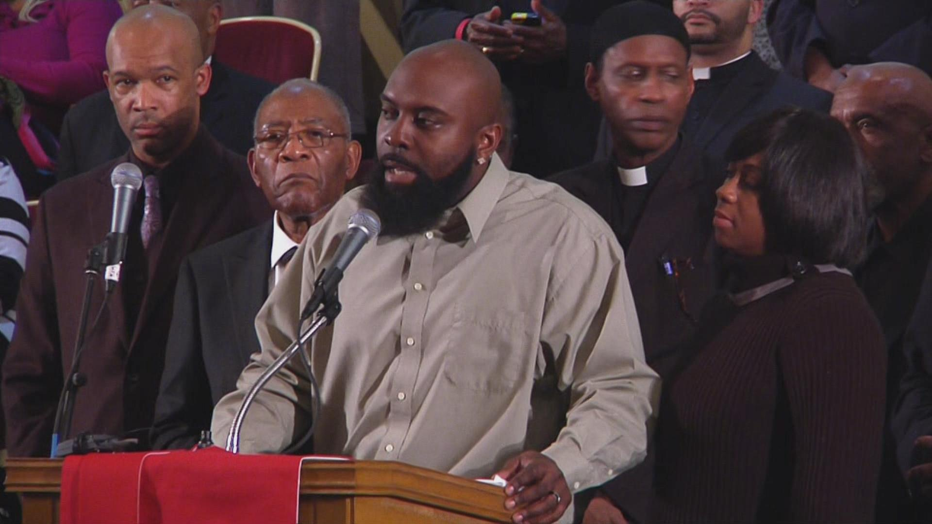 Michael Brown Sr. speaking at the Third Baptist Church in San Francisco. - Dec. 14, 2014.