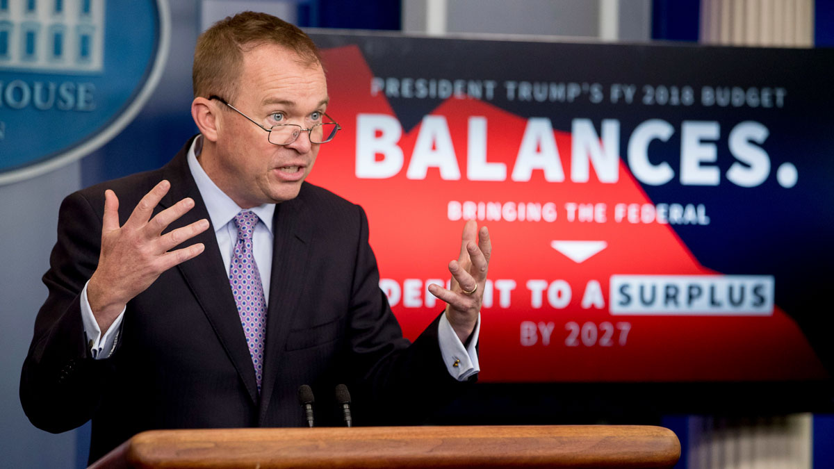 Budget Director Mick Mulvaney speaks to the media about Trump's proposed FY 2018 budget at the press briefing of the White House, Tuesday, May 23, 2017, in Washington.