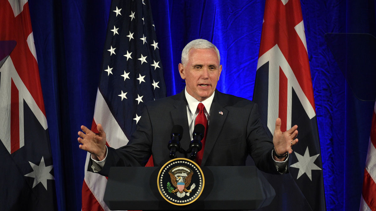US Vice President Mike Pence speaks to business leaders at a business forum in Sydney on April 22, 2017.