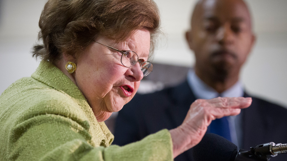 In this file photo, Sen. Barbara Mikulski, D-Md. discusses the elements of the first-ever federal safety standards for rail transit systems during a news conference in Hyattsville, Md., July 16, 2012.