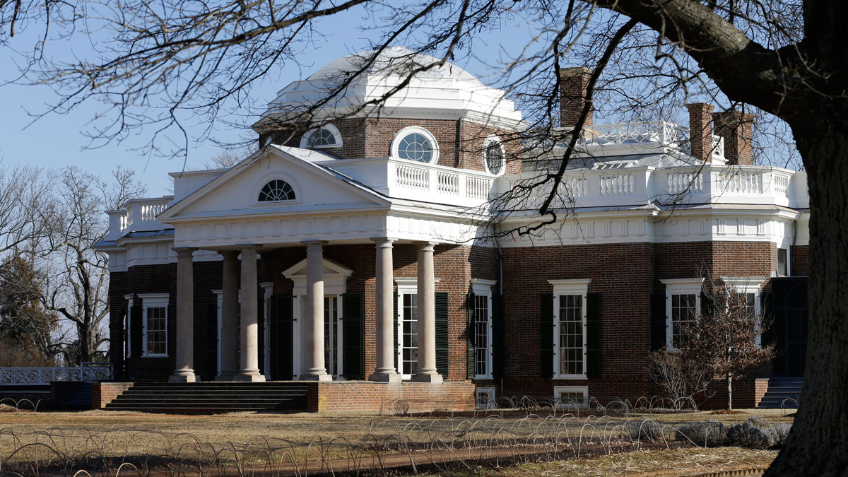 In this file photo, Monticello, the home of Thomas Jefferson, is bathed in morning light in Charlottesville, Virginia, Friday, Feb. 7, 2014.
