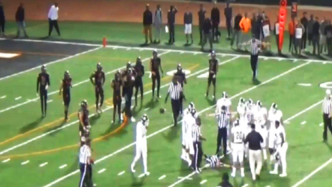 A video shows a ref going down on the field after a player punches him at a SoCal game on Saturday, Sept. 10, 2016.