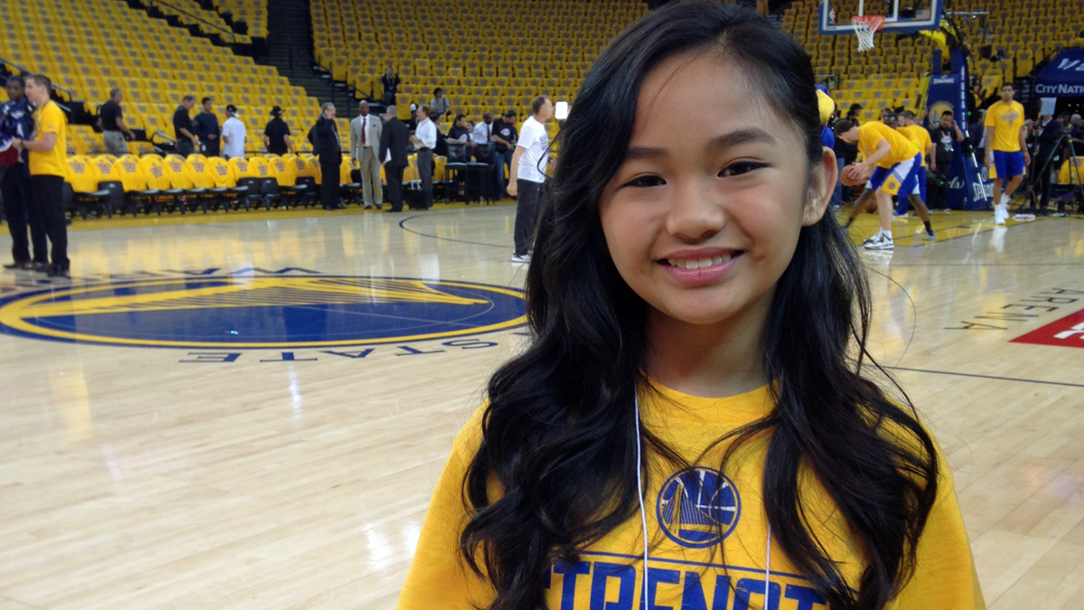 Nayah Damasen will sing the National Anthem at the Warriors-Cavaliers game on Thursday night. The Warriors have won each time she's sang during the playoffs.