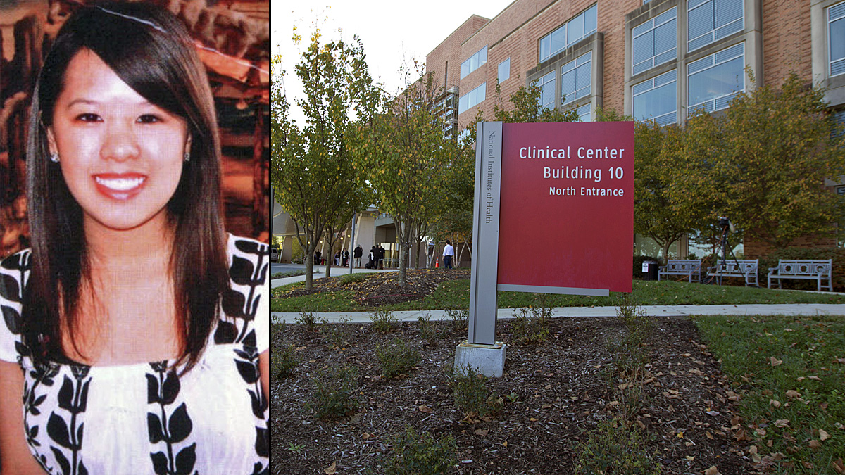 Dallas nurse Nina Pham, left, is being treated for Ebola in isolation at the National Institutes of Health in Bethesda, Maryland, right.