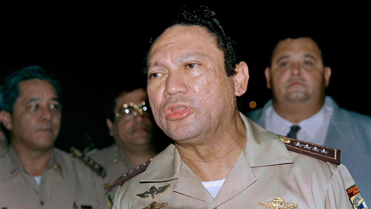 This May 1989 file photo shows General Manuel Antonio Noriega speaking to the press in Panama.