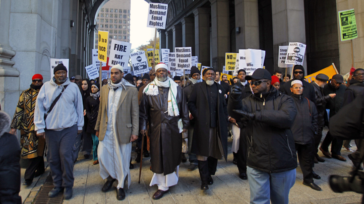 Muslim community and supporters marched near 1 Police Plaza when the secret surveillance program was brought to light.